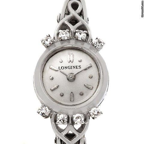 Longines Vintage Ladies 14k W Gold Diamonds Watch