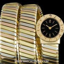 Bulgari 18k Tri-Gold Black Dial Tubogas Ladies Wristwatch...