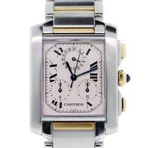 Cartier Tank Chronoflex 2303 Two Tone  Dial Watch