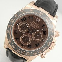 Rolex Daytona 116515 Mens Everose Gold Ceramic Bezel Chocolate...