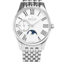 Zenith Elite Ultra Thin Moonphase Stainless Steel Silver Dial...