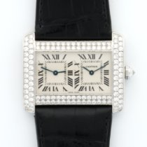 Cartier White Gold Tank Divan Dual Time Zone Diamond Watch