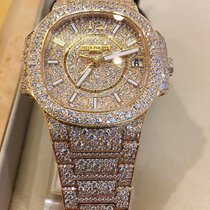 Patek Philippe Nautilus Lady Rose Gold Full Pavé Diamonds -...