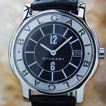 Bulgari St35s Luxury Mens Size Swiss Solotempo Quartz Stainles...