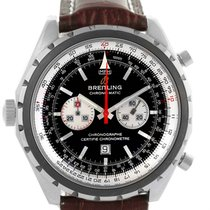 Breitling Chronomatic Left Crown Steel Mens Watch A41360 Box...