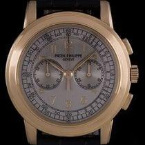 Patek Philippe 18k Rose Gold Silver Arabic Dial Chronograph...