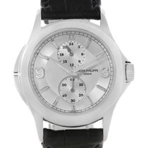 Patek Philippe Travel Time 18k White Gold Watch 5134g Box Papers