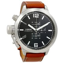 U-Boat Black Dial Light Brown Leather Men's Watch