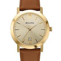 Bulova Mens Classic -  Gold-Tone Dial and Case - Cognac Brown...
