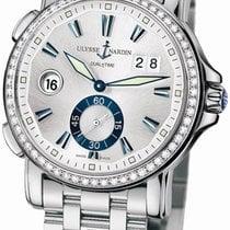 Ulysse Nardin GMT Big Date Silver Dial Stainless Steel Diamond...