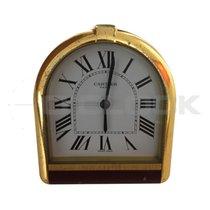 Cartier Paris Alarm Clock Desktop Tortue Gold Plate Vintage