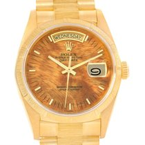 Rolex President Day-date 18k Yellow Gold Wood Dial Mens Watch...