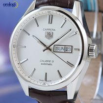 TAG Heuer Men's Carrera Day-Date Steel on Brown Leather...