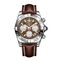 Breitling Chronomat 41 Chronograph Brown Dial Brown Leather...