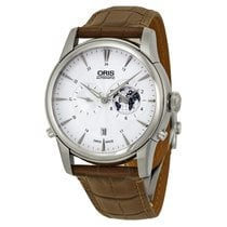 Oris Artelier GMT Automatic Silver White Dial Brown Leather...