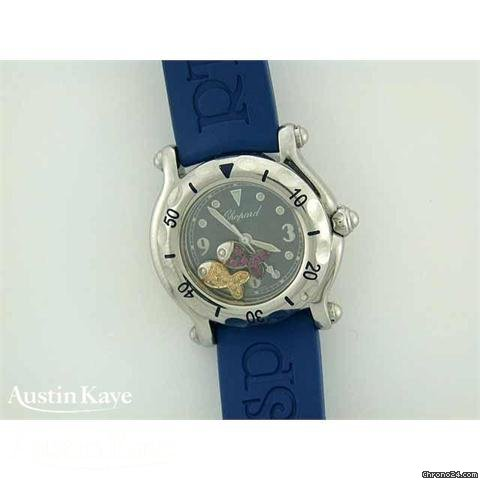 Chopard Happy Sport steel quartz on blue rubber strap