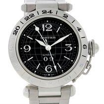 Cartier Pasha C Gmt Mens Steel Black Dial Watch W31049m7