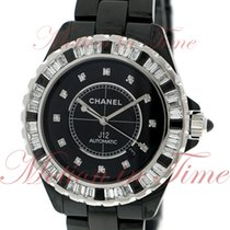 Chanel J12 42mm Automatic, Black Diamond Dial, Baguette Bezel...
