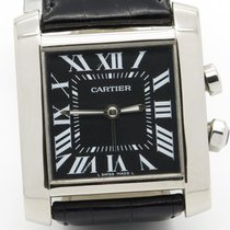 Cartier Tank Francaise Traveller Steel Mens Converted Alarm...