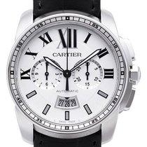 Cartier Calibre de Cartier Chronograph Edelstahl / Leder W7100046