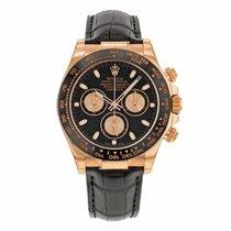 Rolex DAYTONA 18K Everose Gold Black Dial on Leather Strap 2016