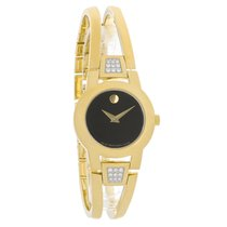 Movado Ladies Amorosa Diamond Gold Tone Bangle Quartz Watch...