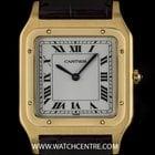 Cartier 18k Yellow Gold White Roman Dial Mid-Size Santos Dumont