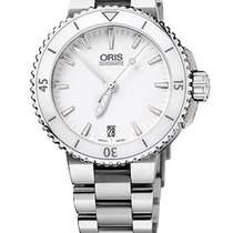 Oris Aquis Date 36, Ceramic Top, White Dial, Steel