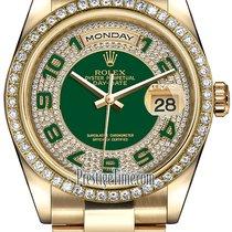 Rolex Day-Date 36mm Yellow Gold Diamond Bezel 118348 Green...