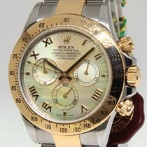 Rolex Daytona Chronograph 18k Yellow Gold Steel MOP Dial Mens...