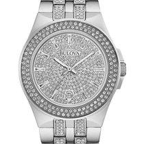 Bulova Mens Crystal Dress Watch - Stainless Steel Case -...