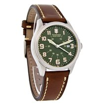 Victorinox Swiss Army Infantry Vintage Mens Leather Band Watch...