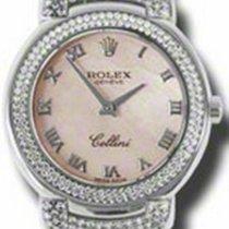 Rolex Cellini Cellissima Ladies 6671-9 Pink Diamond Set White...