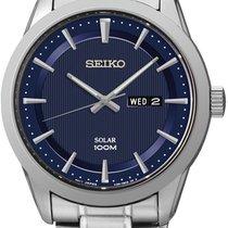 Seiko Solar SNE361P1 Herrenarmbanduhr Klassisch schlicht