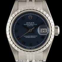 Rolex Stainless Steel O/P Blue Roman Dial Date Ladies B&P...
