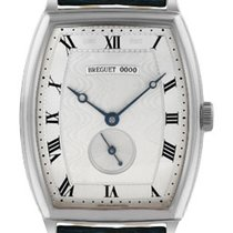 Breguet Heritage Silver Dial 18kt White Gold Blue Leather...