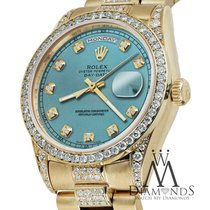 Rolex Presidential Day Date 36mm Ice Blue Dial Diamond Watch...