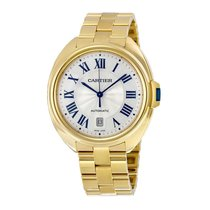 Cartier Cle Silvered Flinque Dial 18kt Yellow Gold Mens Watch...