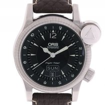 Oris Flight Timer Day Date Stahl Automatik Lederband 42mm