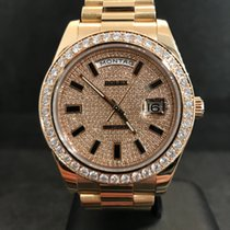 Rolex Day-Date II - Rosegold - 218235 - 41mm - Pave Diamond