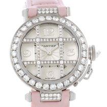 Cartier Pasha 32mm 18k White Gold Diamond Grid Watch Wj116136