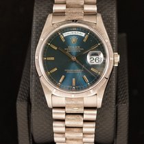 Rolex Day-date 18249 In White Gold Bark Finishing