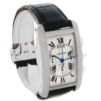 Cartier Tank Americaine Xl Chronograph 18k White Gold Watch...