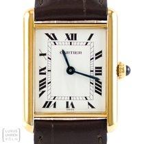 Cartier Uhr Tank Vermeil Silber vergoldet Unisex Quarz Revision