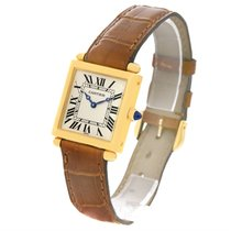 Cartier Tank Obus 18k Yellow Gold Brown Strap Watch W1512256