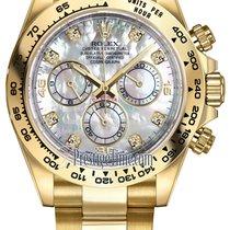 Rolex Cosmograph Daytona Yellow Gold 116508 White MOP Diamond...