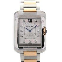 Cartier Tank Automatic Silver Dial Diamond Ladies Watch