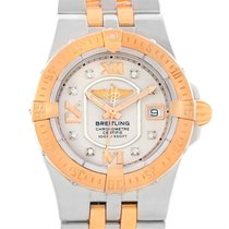 Breitling Galactic 30 Ladies Steel 18k Rose Gold Diamond Watch...