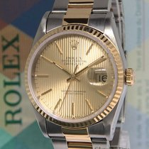 Rolex Datejust 18k Yellow Gold Steel Champagne Tapestry Dial...