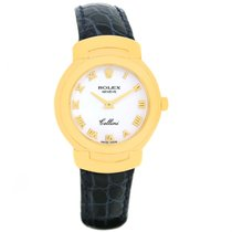 Rolex Cellini 18k Yellow Gold White Dial Blue Strap Ladies...